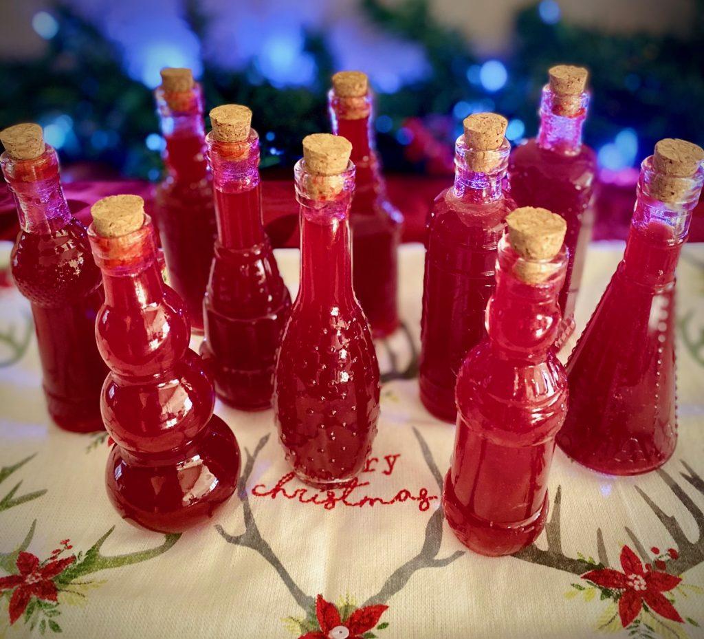 Cranberry Orange Liqueur in small bottles