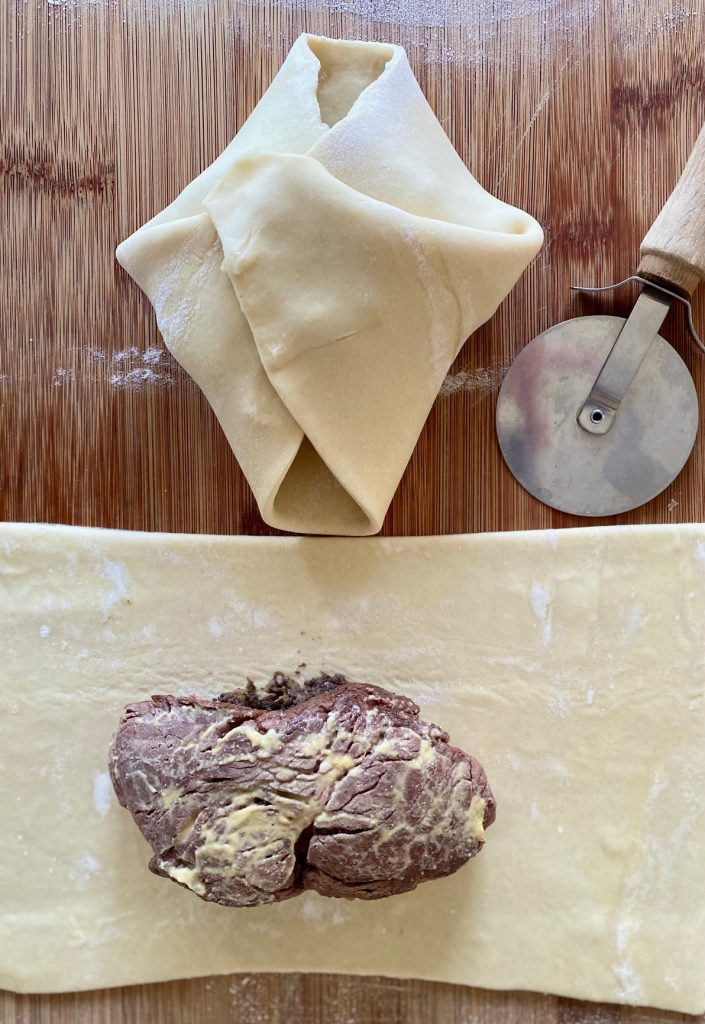 Filet coated in Dijon and puff pastry