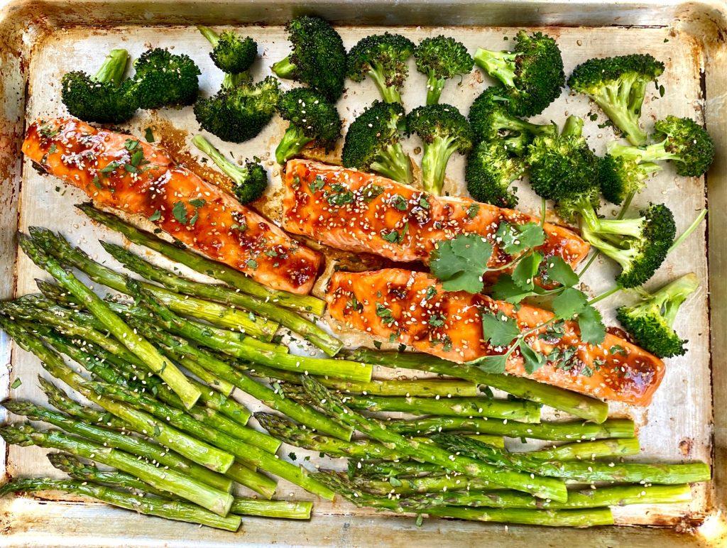 a sheet pan of Sheet Pan Salmon and Asparagus with Asian Marinade