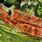 Asian Salmon on sheet pan with broccoli and asparagus