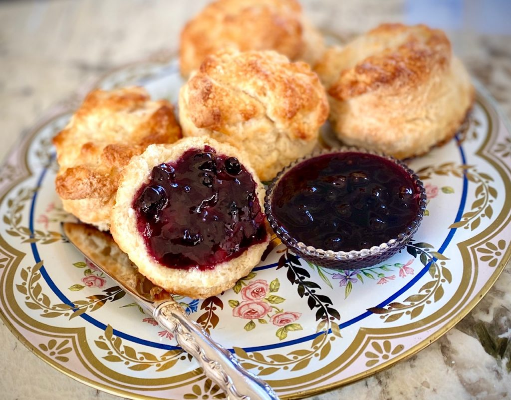 Baking Powder Biscuits with Blueberry Jam on flowered plate