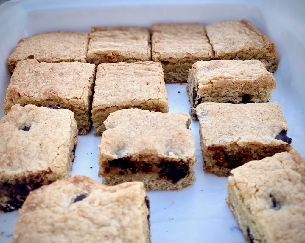 Blondies with chocolate chips in a pan