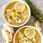 2 bowls of Greek Lemon Chicken Soup with bread