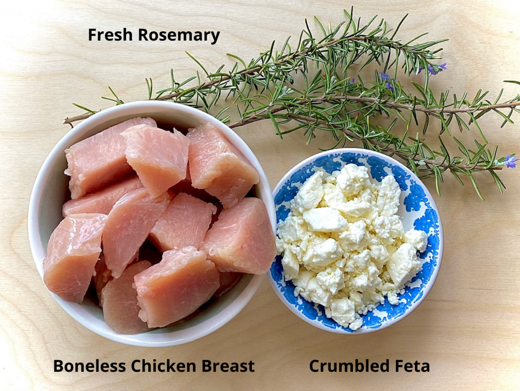Chicken, rosemary and crumbled feta in bowls