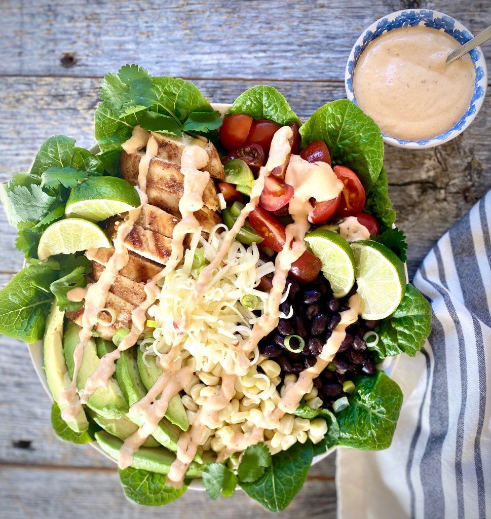 Southwest Salad and a jar of Southwest dressing