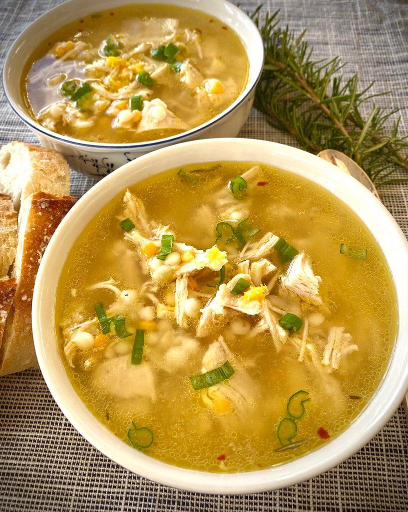 2 bowls of lemon greek soup