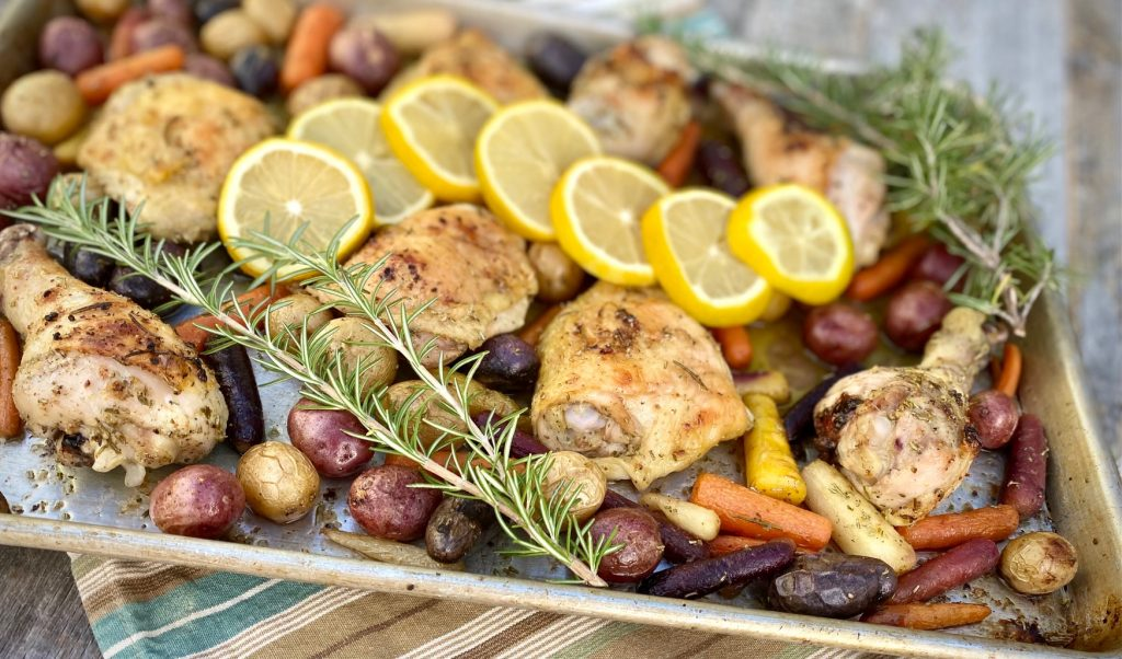 Sheet Pan Lemon Chicken with Potatoes and Carrots