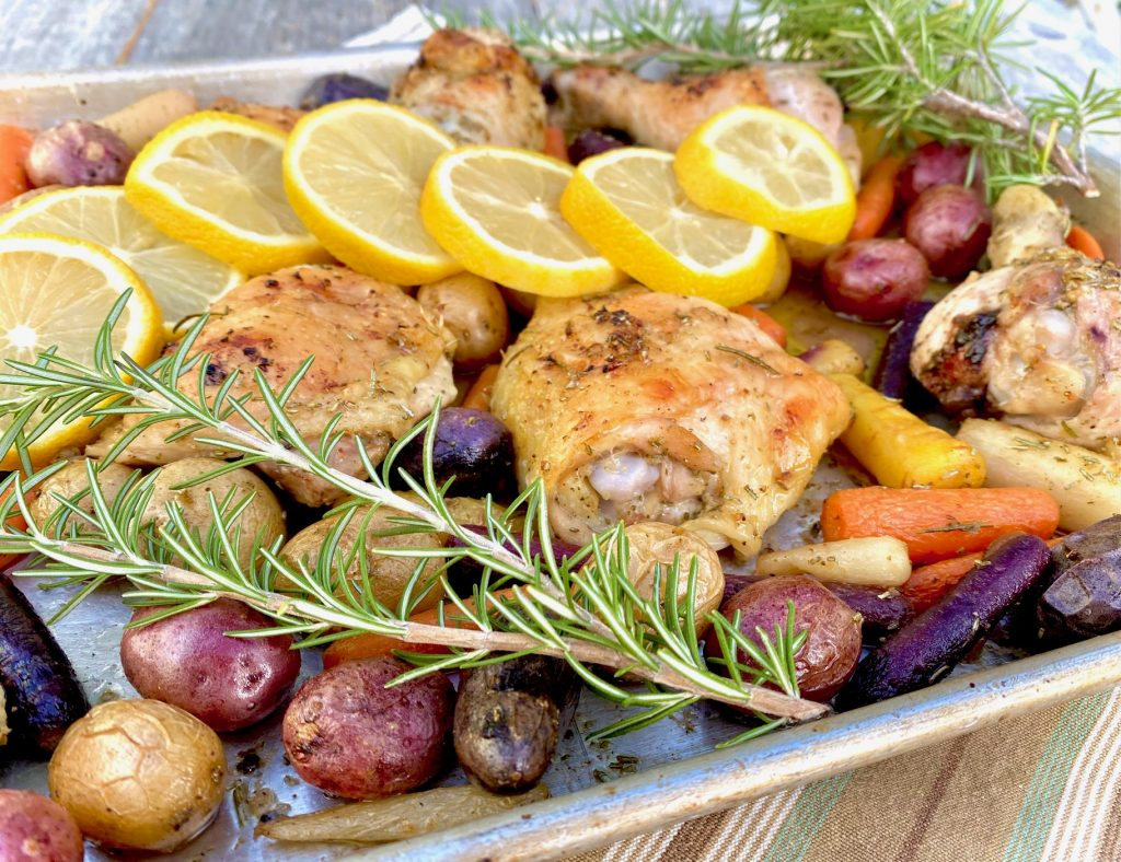 Lemon Sheet pan chicken with carrots and potatoes