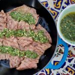 Blue grill pan with Argentinian steak and sauce