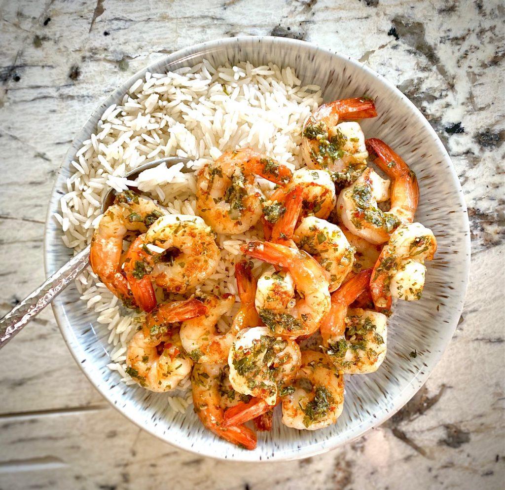 Shrimp Chimichurri Over Rice