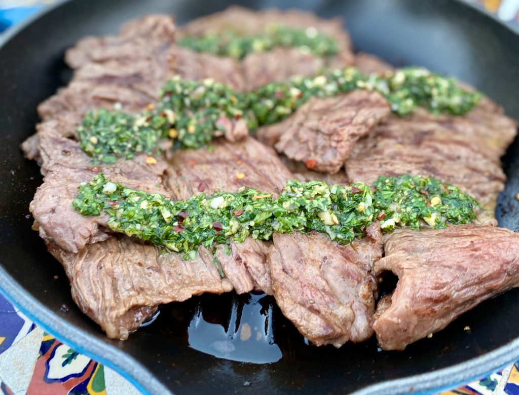 Argentinian skirt steak with parsley sauce
