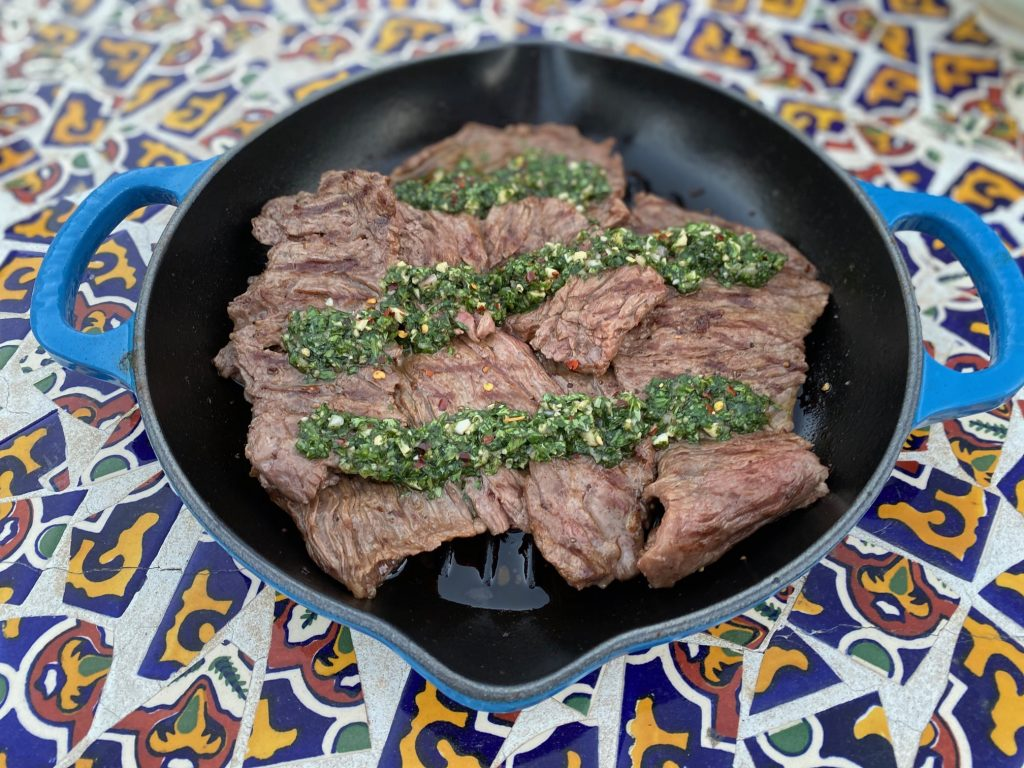 grilling skirt steak with parsley sauce