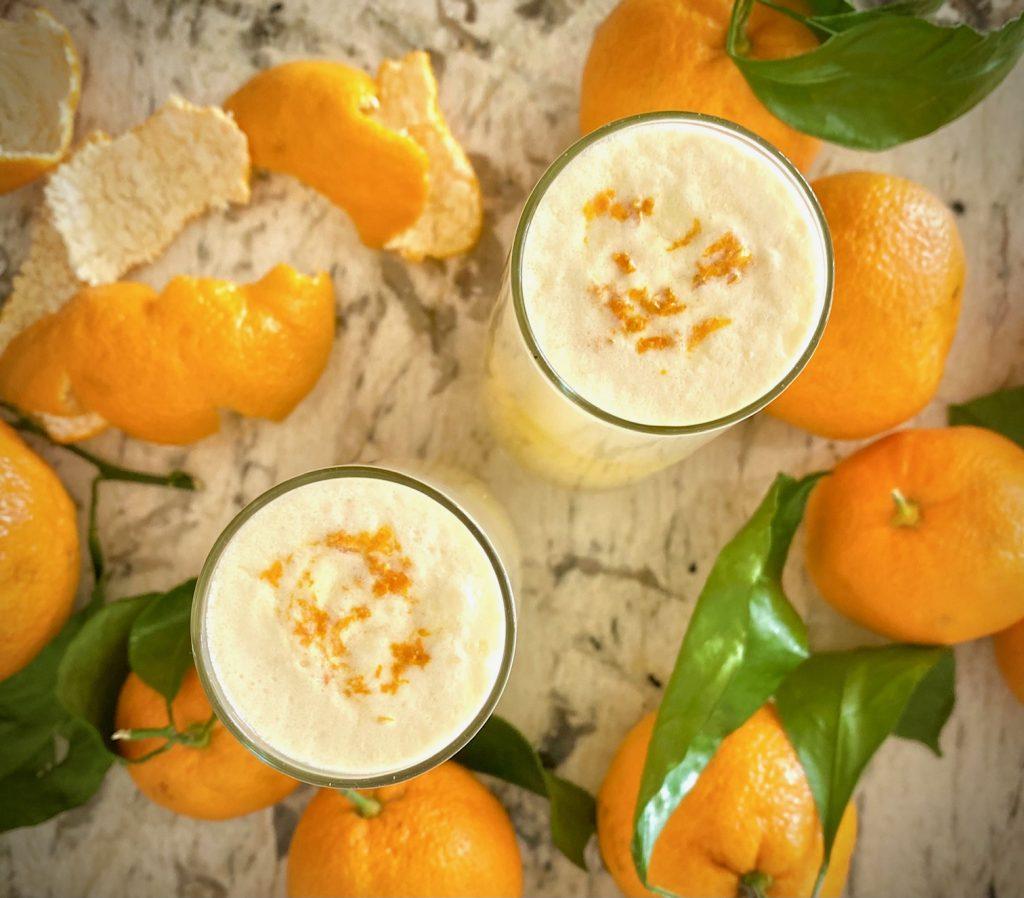 2 Orange Creamsicle Martinis overhead