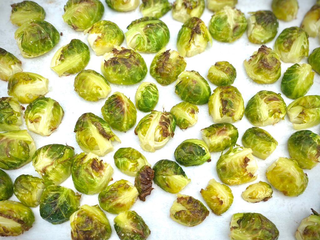 cooked sprouts on tray