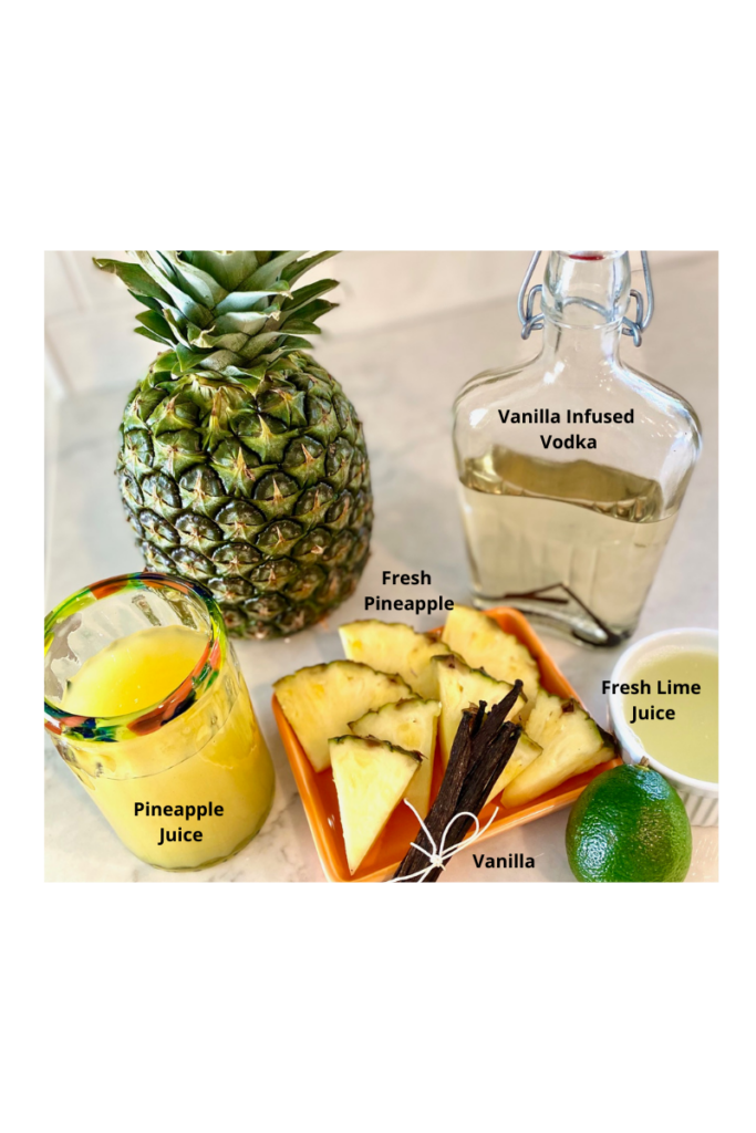 Ingredients for a vanilla pineapple martinis
