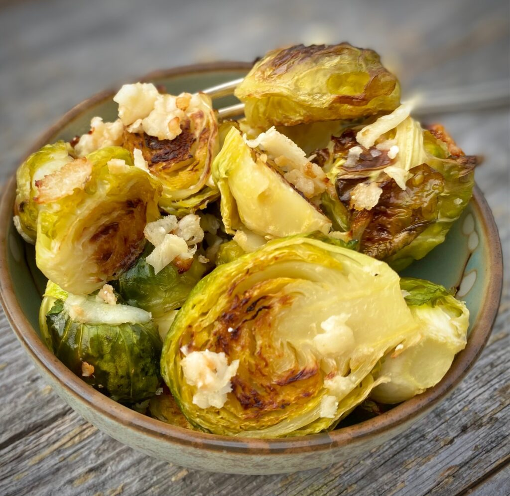 Roasted Brussels Sprouts with Parmesan and Garlic
