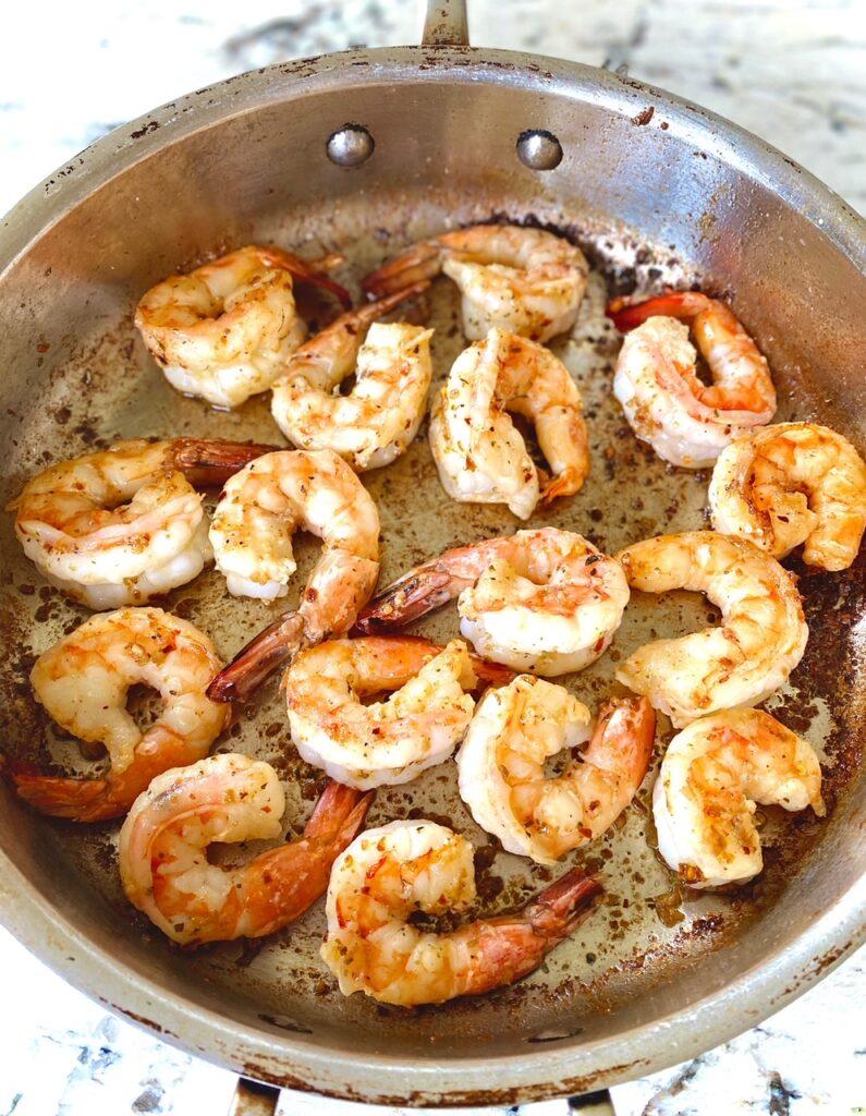 Pan of sauteed shrimp