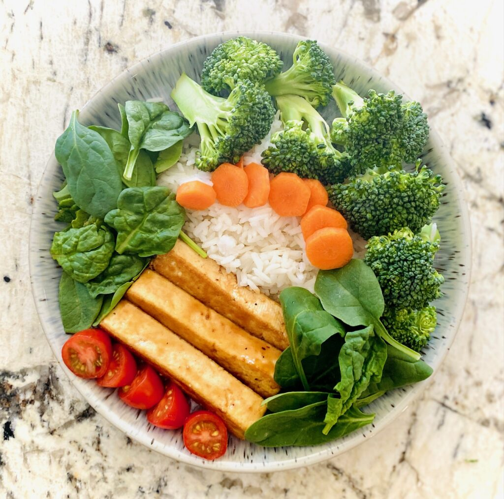 tofu rice bowl with vegetables