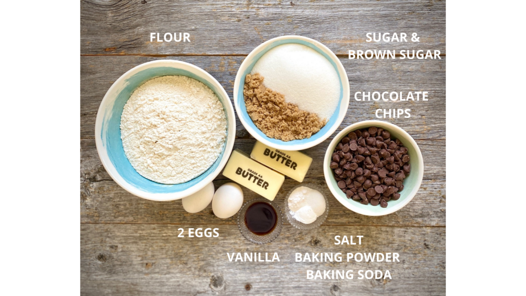 Ingredients for Chocolate chip skillet cookie