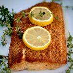 Planked salmon with lemon and thyme