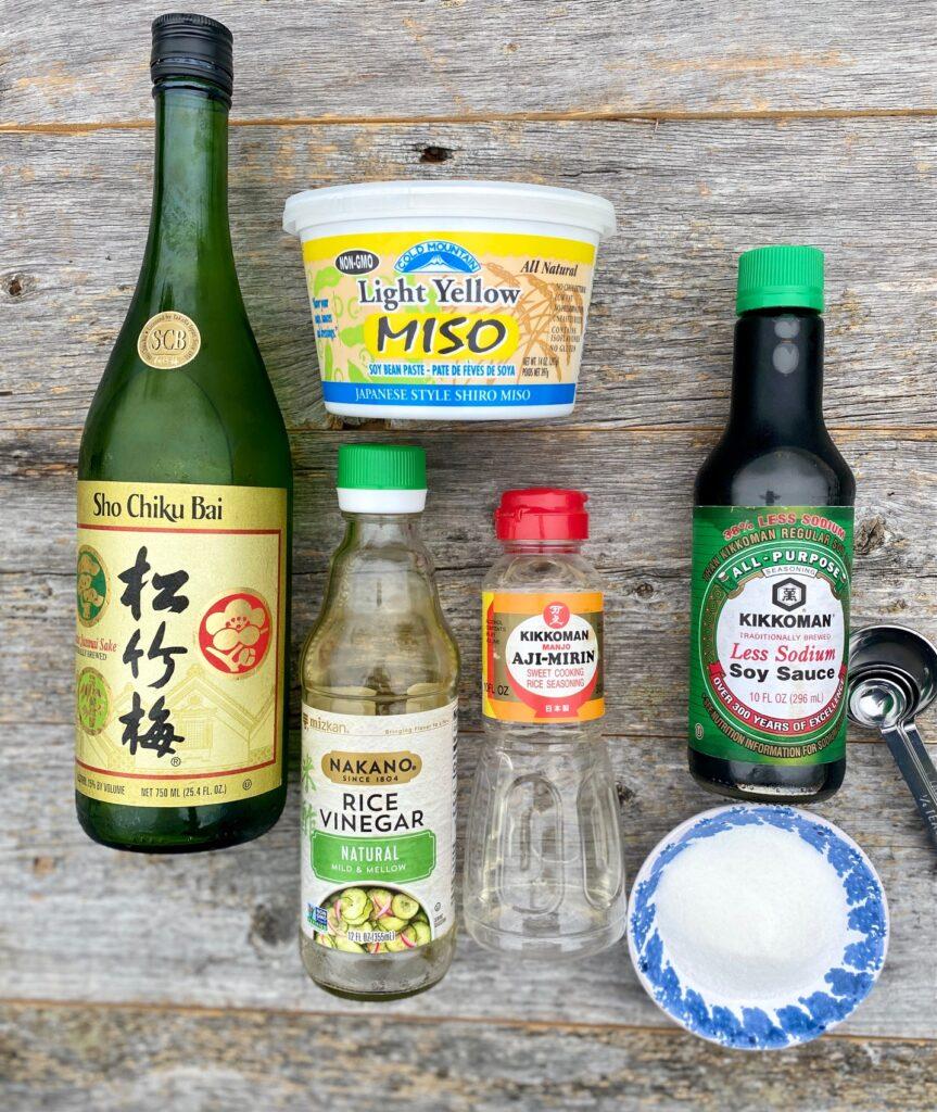 Ingredients for making miso glaze