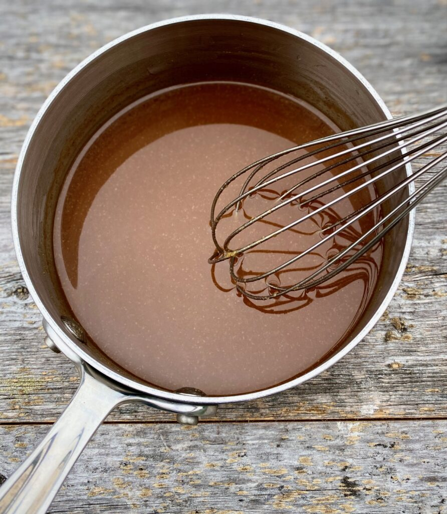 Miso glaze sauce in a pan