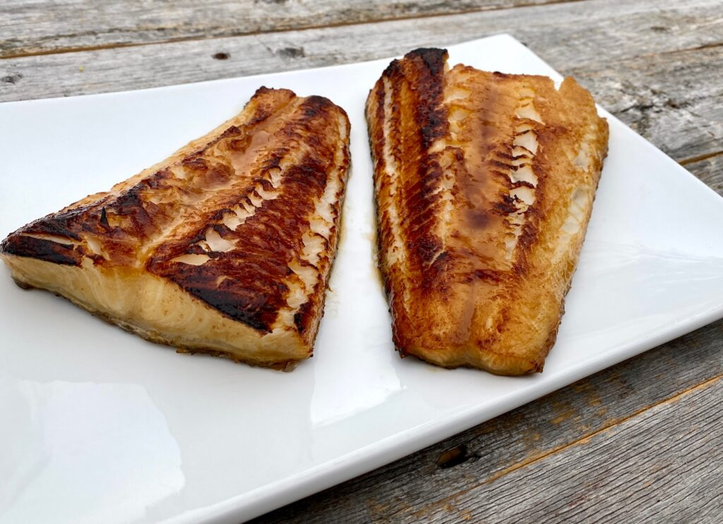 2 pieces of cooked sea bass