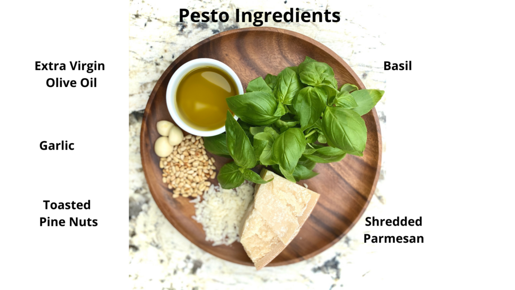 Ingredients for pesto on a brown plate