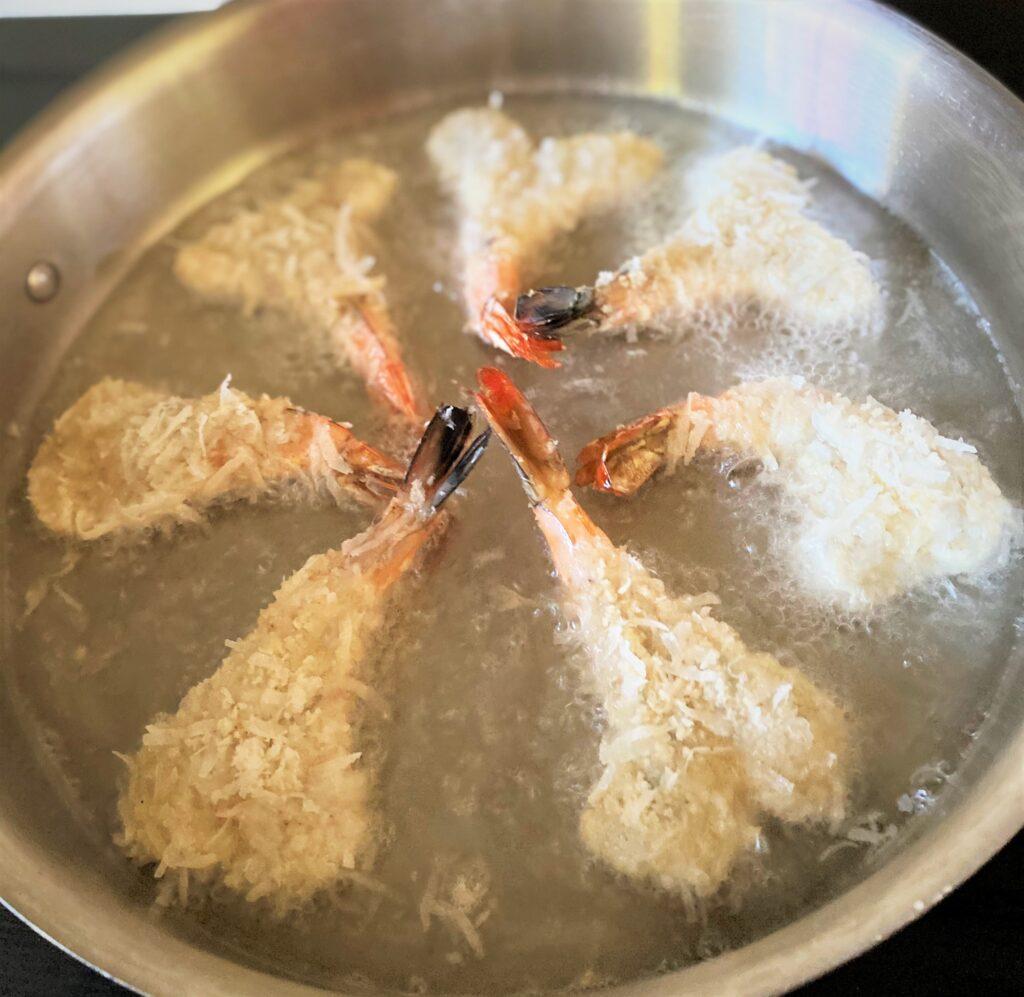 Cook shrimp in batches