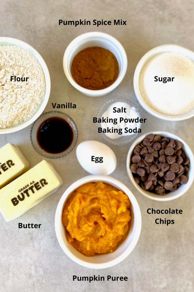 Ingredients for Pumpkin Cookies labeled