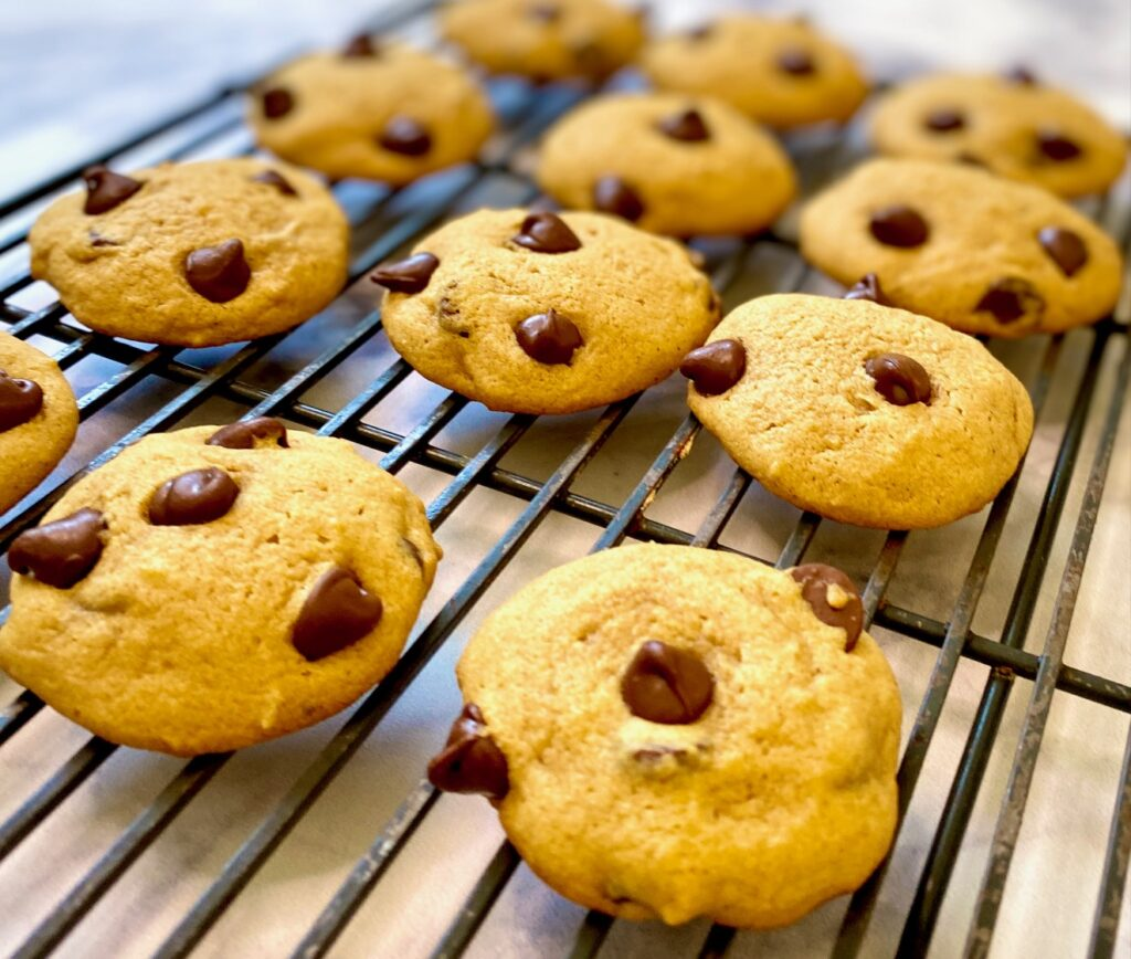 Pumpkin cookies unglazed on cooling rack